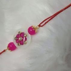 Elegant Pink Kundan Flower-Designed White Shell Piece with Pink Glass Beads Thread Rakhi Handmade Rakhi Designs, Rakhi Making, Handmade Shop, Flower Designs, Glass Beads, Brother, Shell, Hair Accessories, Diy Crafts