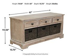 Oslember Storage Bench | Ashley Furniture HomeStore Basket Weaving, Woven Baskets, Cool Tables, Metal Table Lamps, Bench Furniture, Metal Drawers, At Home Store, Engineered Wood