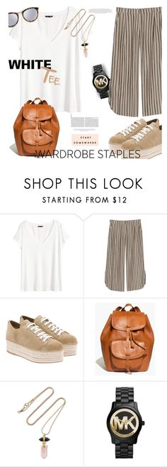 """Wardrobe Staple: White T-Shirt"" by stacey-lynne ❤ liked on Polyvore featuring H&M, Monki, Miu Miu, Madewell, Isabel Marant, Michael Kors and Le Specs"