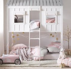 RH Cabin Loft Bed: built for both sleep and play. Fronted by two windows and a door – with roll-up canvas curtains – and topped with a classic slat roof. Pair with our trundle to expand sleep options.