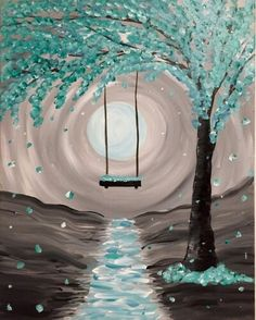 Whimsical Moonlight at That Meetball Place (Patchogue) - Paint Nite Events near Patchogue, NY> Easy Canvas Painting, Simple Acrylic Paintings, Diy Painting, Canvas Art, Beach Canvas Paintings, Canvas Painting Tutorials, Oil Painting For Beginners, Wedding Painting, Acrylic Painting Flowers