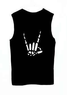 Rock On Skeleton Hand Cutout Tank Top / Sleeveless Metal Head Cut Out Shirt