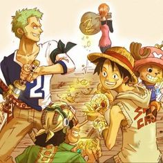 Zoro's leaves his mark. ;-) The boys are up to no good... Zoro, Nami, Usopp, Luffy, and Chopper One Piece