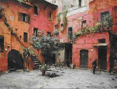 """Outdoor """"room"""" and human scale.    Dimitri Danish - Rome Courtyard"""