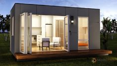 Modular Homes: Rennes - Granny Flats Studio Prefab Container Home. Modern Tiny House, Tiny House Living, Tiny House Design, Design Homes, Design Design, Prefab Container Homes, Shipping Container Homes, Prefabricated Houses, Prefab Homes