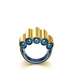 Gold and Titanium View Ring - Tous