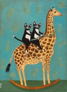 Rocking Giraffe Original Cat Folk Art Painting by KilkennycatArt