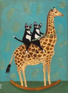 Rocking Giraffe Original Cat Folk Art Painting by KilkennycatArt