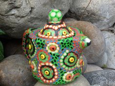 Upcycled Ceramic Teapot Pitcher Tropical Foliage by CrazieHappy, $45.00