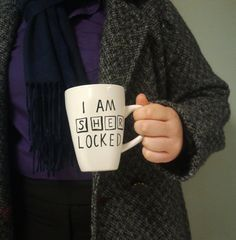 "Sherlock - hand-painted coffee or tea mug - ""I am sherlocked"" on Etsy, $10.50"
