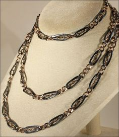 """Antique Silver Niello 45"""" Long Guard Watch Chain, c. 1890 from vsterling on Ruby Lane"""