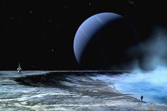 Astronaut standing on the edge of a lake of liquid methane at the bottom of a large impact crater Print Ice Giant, Planetary System, Murals Your Way, Space Theme, Beautiful Artwork, Astronomy, Wall Murals, Mists, Planets