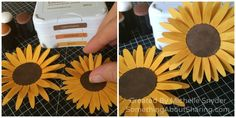 Add beautiful sunflowers to summer and fall scrapbook layouts. Click here for instructions to make sunflowers in three easy steps.  #SomethingAboutSharing.com #sunflowers #CTMH