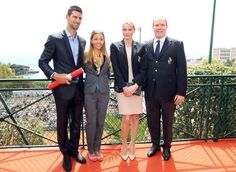 Novak Djokivic and his girlfriend Jelena Ristic meet with Prince Albert II and his wife Princess Charlene in Monaco.  April 2012.  #tennis