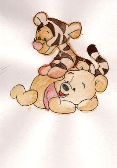 aww baby pooh bear and baby tiger
