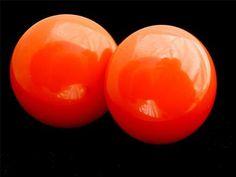 Vintage Orange Bakelite Earrings Large Screwback Estate Tested | eBay