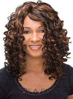 Sketchy Medium Curly Brown African American Lace Wigs for Women