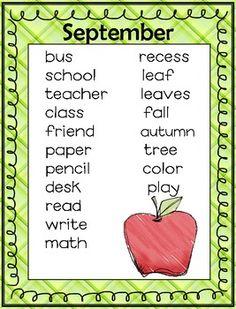 SEPTEMBER ANCHOR CHART AND VOCAB CARDS - TeachersPayTeachers.com