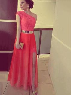 A-line One Shoulder Lace Chiffon Ankle-length with Split Front Prom Dresses