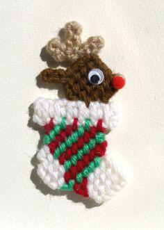 Deer in stocking magnet dark brown plastic by mawaggiescorner, $1.75