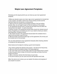 Agreement Template Koco Yhinoha Form Simple Simple Loan Agreement