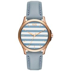 Buy Armani Exchange AX5238 Women's Hampton Leather Strap Watch, Blue/Silver Online at johnlewis.com