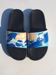 c01d036aea9761 Nike Slides Custom Waves Size 9  fashion  clothing  shoes  accessories   mensshoes  sandals (ebay link)