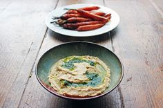Hummus with Coriander Oil and Roasted Carrot Dippers - The Yes Chef