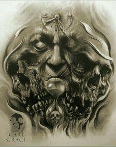 Horror Art by Carl Grace Evil Skull Tattoo, Evil Tattoos, Skull Sleeve Tattoos, Demon Tattoo, Skull Tattoo Design, Tattoo Design Drawings, Body Art Tattoos, Tattoo Designs, Tattoo Ideas