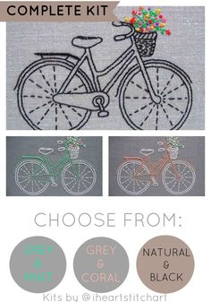 Bicycle embroidery kit, DIY embroidery hoop art, modern hand embroidery patterns, bike embroidery pattern, modern embroidery kits by iHeartStitchArt on Etsy https://www.etsy.com/listing/218837769/bicycle-embroidery-kit-diy-embroidery