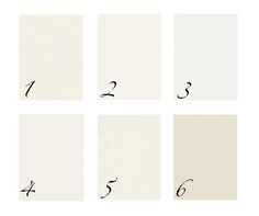 1.Ivory white 2.white dove 3.decorators white 4.atrium white 5.acadia white 6.elephant tusk. benjamin moore favorites