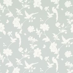 Farleigh Dove Grey Floral Wallpaper at Laura Ashley Bird Wallpaper Bedroom, Beach Wallpaper, Hallway Wallpaper, Beautiful Wallpaper, Grey Floral Wallpaper, Feature Wallpaper, Childrens Room Decor, Wall Colors, Home Furnishings
