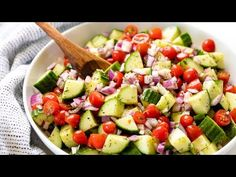 How to Make Easy Cucumber Tomato Salad | The Stay At Home Chef  FOOD – SALADS (9) How to Make Easy Cucumber Tomato Salad | The Stay At Home Chef – YouTube Creamy Cucumber Tomato Salad, Creamy Cucumbers, Cucumber Salad, Cucumber Recipes, Salad Recipes, Healthy Salads, Healthy Recipes, Delicious Recipes, Healthy Menu