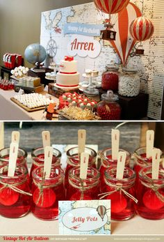 VINTAGE Hot Air Balloon Birthday Party by SweetScarletDesigns