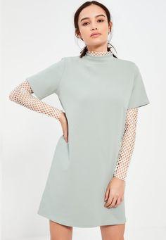 Missguided - petite sage green scuba t-shirt dress