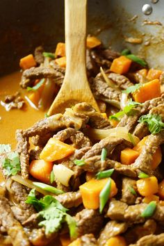 Sweet Potato Stir Fry with Coconut Beef