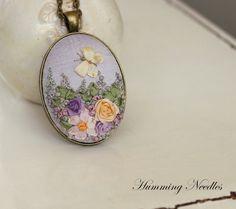Purple Sky Silk Ribbon Embroidery Pendant by HummingNeedles