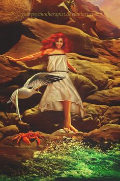 Ariel [feat. Sebastian & Scuttle] (Drawing by YourPsychoTherapist @deviantART) #TheLittleMermaid