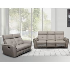 Shop for Luca Home Light Grey Sofa and Love-seat Manual Reclining Set. Get free delivery On EVERYTHING* Overstock - Your Online Furniture Shop! Grey Leather Reclining Sofa, Leather Sectional Sofas, Leather Sofa, Leather Living Room Set, Leather Living Room Furniture, Sofa And Loveseat Set, Loveseat Slipcovers, Gray Sofa, Recliner