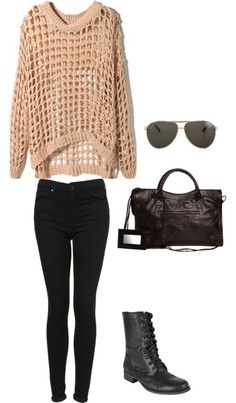 Kendall Inspired Casual Fall Outfit by kjfashion featuring aviator sunglassesCotton shirt / Super skinny jeans / Steve Madden  booties / Balenciaga travel bag / Marc Jacobs aviator sunglasses