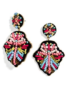 Color-clad seed beads lend a playful pop to these intricate drop earrings. Easily pair them with subdued separates or colorful extras.