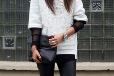 Zara sweater and leather choker, H leather trousers, Market HQ mesh sweater, Nelly clutch