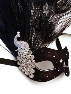 Black Masquerade Masks for Women | ... & Gold Monsoon Peacock Swarovski Crystal Venetian Masquerade Mask