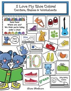 Color activities: LOTS of Pete the Cat-inspired color games, centers & worksheets. :-)