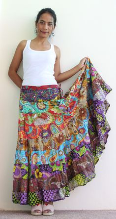 Boho Maxi skirt - Long hippie skirt :  Boho Patchwork Collection II. $52.00, via Etsy.