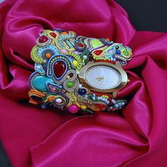 Clock cuff woman watch bracelet rainbow by byPiLLowDesign on Etsy, $629.00