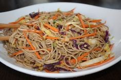 Asian Noodle Salad with Buckwheat Noodles - substitute sesame tahini for the peanut butter if you're allergic!