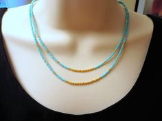Layering Necklace  Turquoise and Gold  by ClassyJewelryByAlena