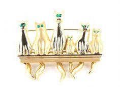 Vintage 80s Gold Cat Pin Brooch w Green Rhinestone Eyes