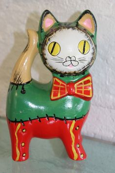 Weird Vintage 60s Japan Kitty Cat Bank w Tim Burton Style Stitches Frankenkitty | eBay